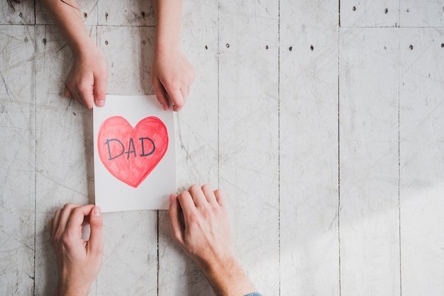 Fathers day concept with copyspace and hands