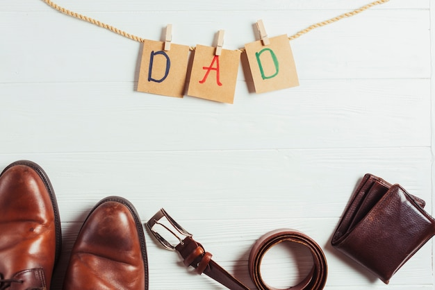 Fathers day concept with letters and accessories
