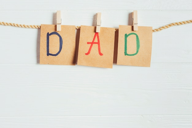 Fathers day concept with letters on clothesline