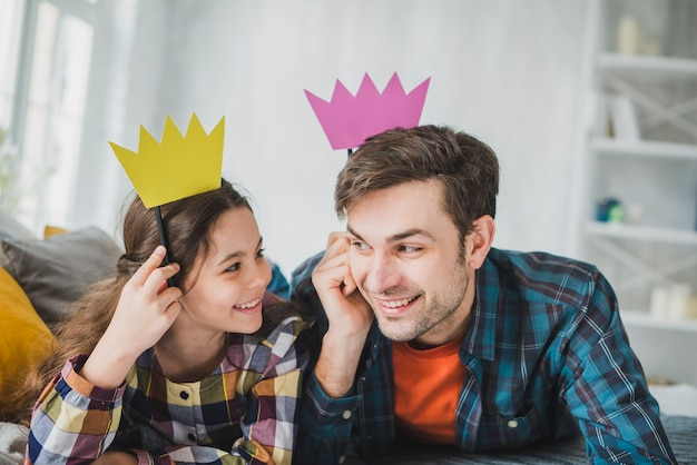 Fathers day concept with paper crown