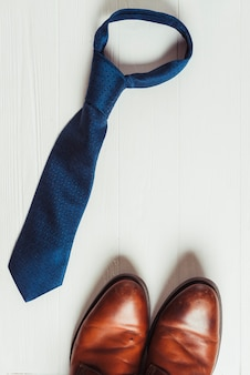Fathers day concept with tie and shoes