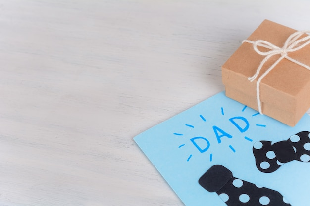 Fathers day greeting card with gift box