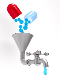 Кран и лекарства, изолированные на белом. 3d иллюстрации