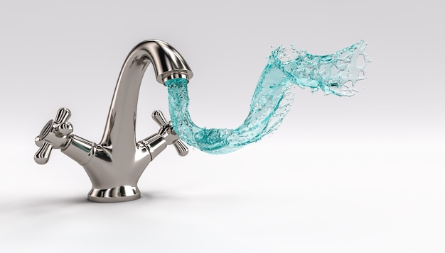 Faucet with flowing water.
