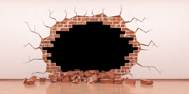 Fault in a brick wall with stucco, 3d illustration