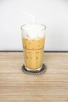 Favorite coffee menu, ice cappuccino. sweet  beverage. served with milk foam.
