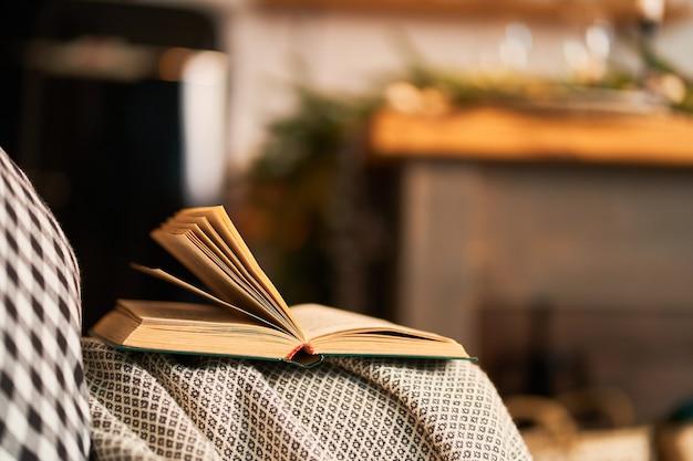책을 읽을 수있는 체크 무늬 쿠션이있는 아늑한 소파입니다.