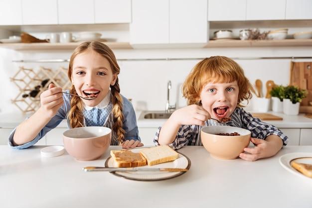 좋아하는 맛. 테이블에 앉아 새로운 활기찬 하루를 준비하는 동안 부엌에서 시리얼을 먹는 사랑스러운 감탄할만한 쾌활한 아이들