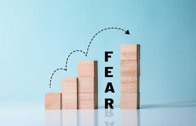 Fear or brave concepts with step to success
