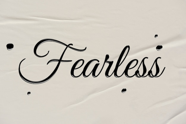 Fearless word in ink calligraphy style