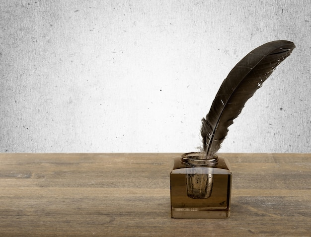Feather pen into the inkwell. isolated