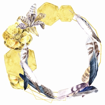 Feathers and flowers watercolor wreath. yellow gold elements