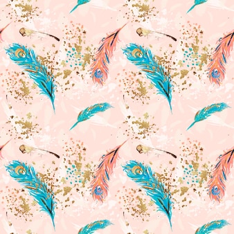 Feathers hand painted pattern seamless peacock