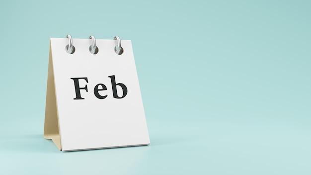 Feb on  paper desk  calendar  3d rendering