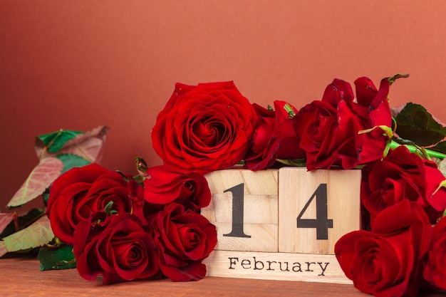 February 14 on calendar and decorations for valentine's day.