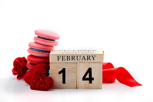 2月14日木製カレンダーバレンタインデーの背景