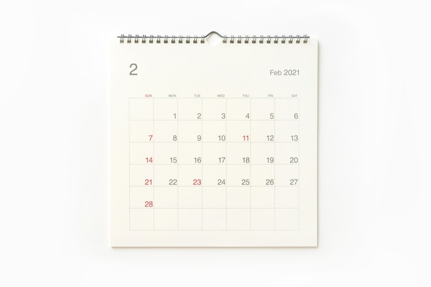 February 2021 calendar page on white background. calendar background for reminder, business planning, appointment meeting and event.