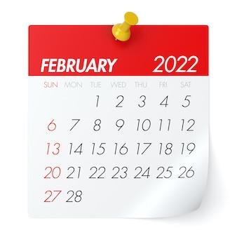 2022년 2월 달력입니다. 흰색 배경에 고립. 3d 일러스트레이션