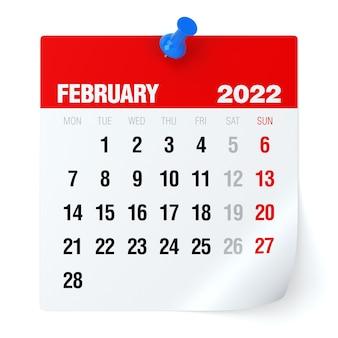 2022년 2월 - 달력. 흰색 배경에 고립. 3d 일러스트레이션