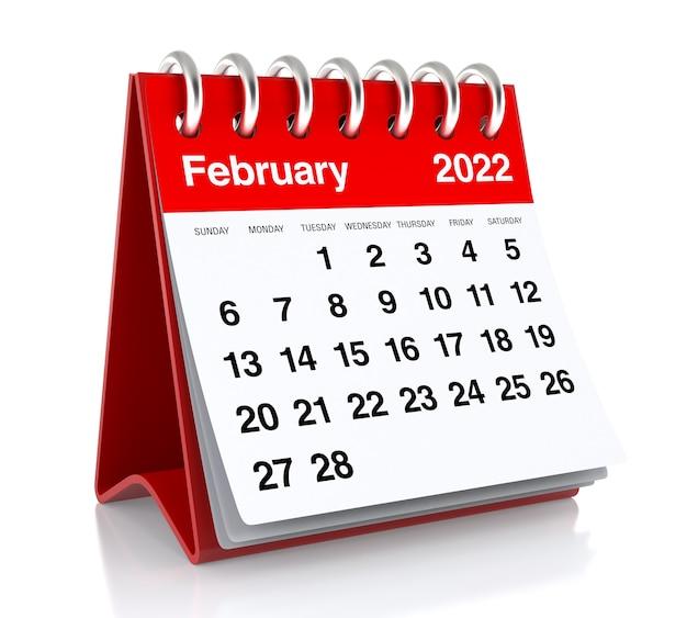 February 2022 calendar. isolated on white background. 3d illustration