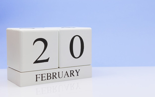 February 20st. day 20 of month, daily calendar on white table.