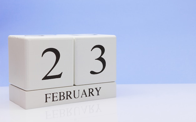 February 23st. day 23 of month, daily calendar on white table.