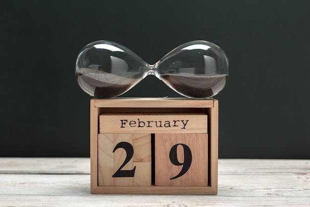 February 29th. day 29 of february month, calendar on wooden. winter time