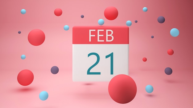 February  on a white calendar page d render