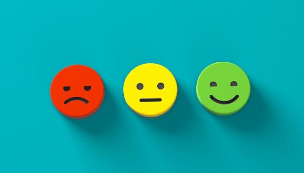 フィードバック。ポジティブ、ニュートラル、ネガティブフィードバック。普通で怒っている笑顔の顔。 3dレンダリング。