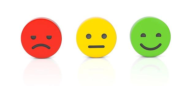 フィードバックポジティブニュートラルネガティブフィードバック普通の笑顔と怒っている孤立した顔