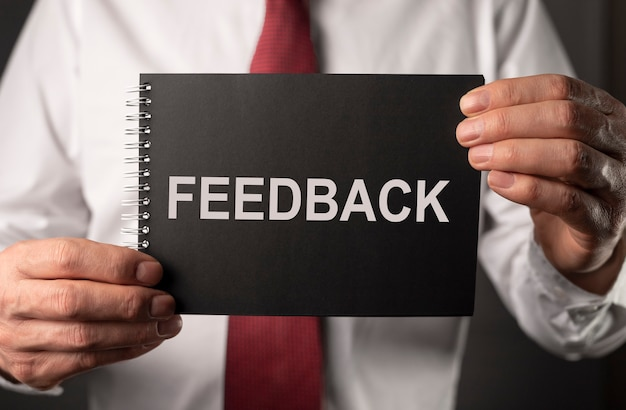 Feedback word, concept of opinions, good and bad assessment.