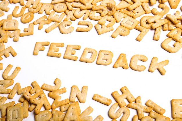 Feedback word written with cookies
