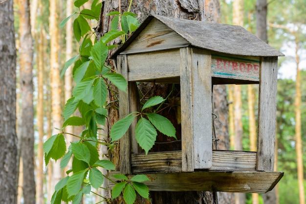 Кормушки для птиц. птичий домик, висящий под деревом. маленький домик, висящий под деревом в лесу.