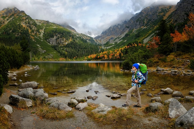 Feel freedom and enjoy gold autumn nature in mountain