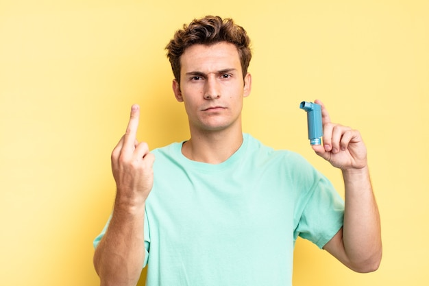 Feeling angry, annoyed, rebellious and aggressive, flipping the middle finger, fighting back. asthma concept