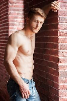 軽薄な感じ。レンガの壁に寄りかかってカメラを見ているハンサムな若い上半身裸の男