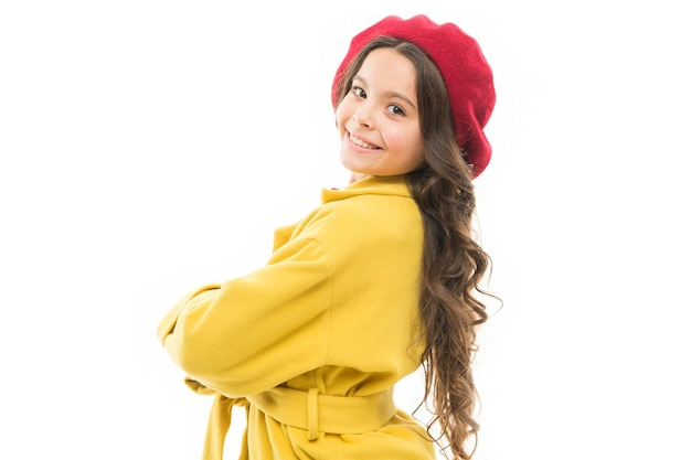Feeling pretty. dress up like fashion girl. kid little cute girl smiling face posing in hat isolated on white. fashionable beret accessory for female. spring fashion. fashion accessory for little kid.