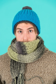 Feeling sick and cold. he caught a cold. male knitwear fashion. men knitted accessory. poor homeless man. frozen man feeling cold in winter. no flu. winter weather forecast. guy wear warm clothes.
