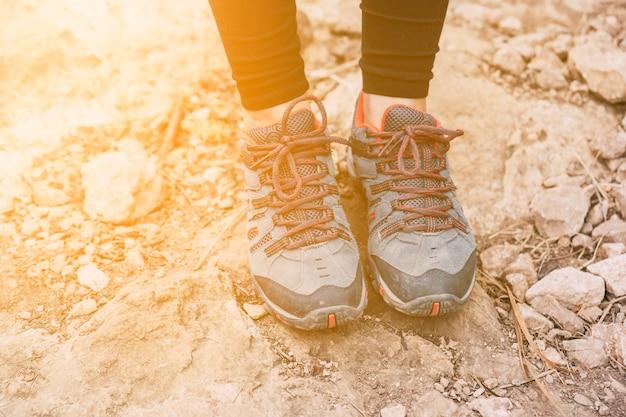 Feet of hiker