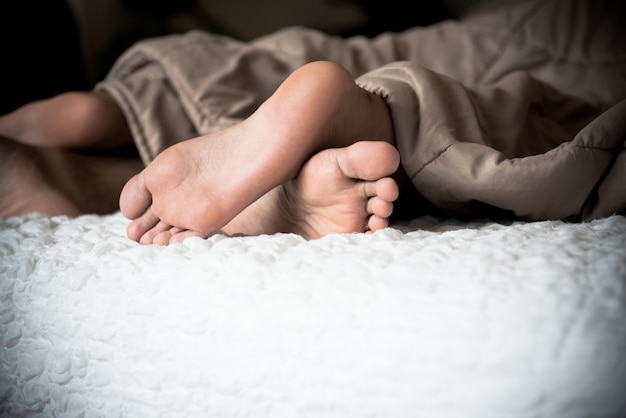 Feet out of the blanket