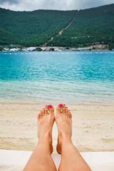Feet on the shore