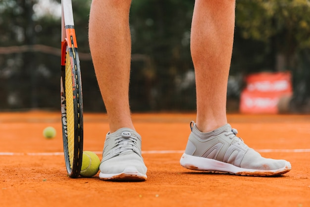Feet of a tennis player