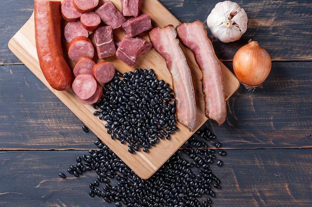 Feijoada - raw ingredients for preparation. top view