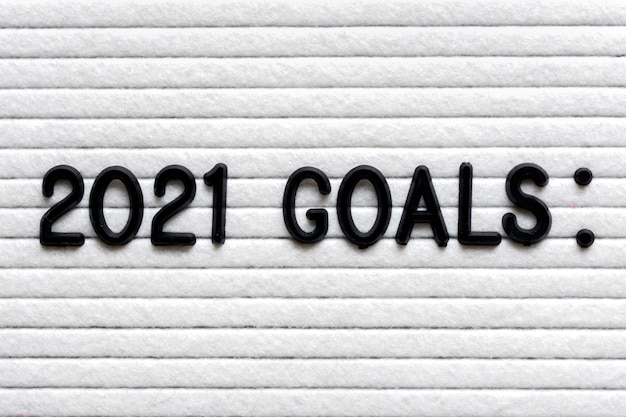 Felt board with text  2021 goals planning