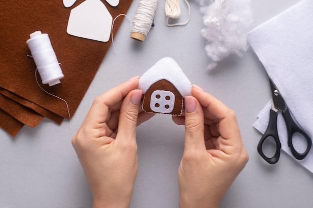 Felt christmas gingerbread house.