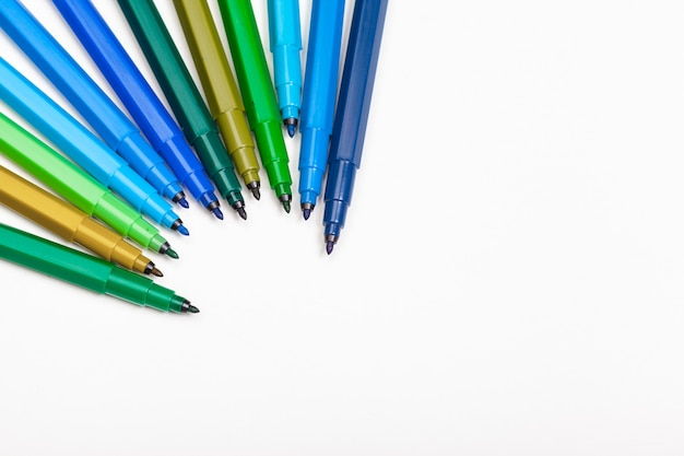 Felt tip marker pens isolated on white
