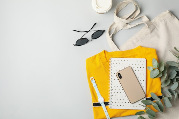 Female accessories on white background. travel blogger concept