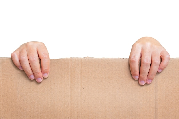 Female adult hands hold the piece of cardboard with copy space isolated on white background