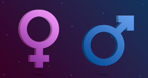 기술 배경 3d에 여성 및 남성 아이콘
