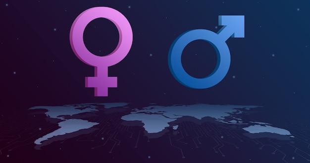 세계지도 3d에 여성 및 남성 아이콘